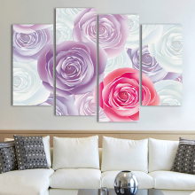 4 Panel Light Pink Purple Rose Canvas Oil Painting HD large Flowers Picture Print Poster Home Decor Living Room unframed