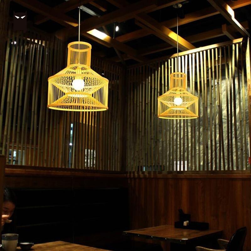 Бамбук плетеная из ротанга тени подвесной светильник японский Винтаж сельских скандинавский подвесной потолочный светильник татами паден