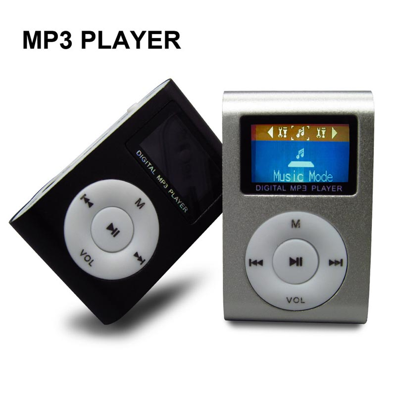 Metal Clip Mini MP3 Music Media Player LCD Screen with USB Cable Support Micro SD TF Digital Mp3 players(20pcs/lot )