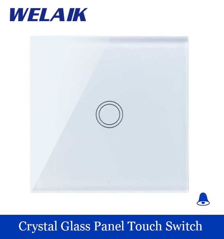 WELAIK Crystal Glass Panel Switch White Wall Switch EU Door Bell Touch Switch  Light Switch 1gang1way AC110~250V A1911MLXW/B smart home us au wall touch switch white crystal glass panel 1 gang 1 way power light wall touch switch used for led waterproof