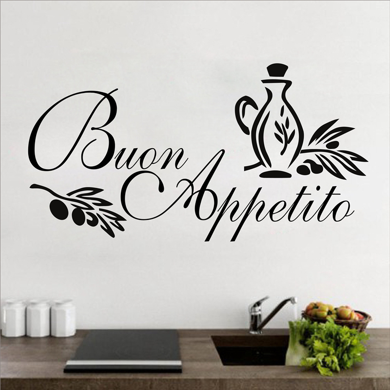 Wall decals kitchen Buon Appetito Wall Decal Italian Wall Art Decals Wall Vinyl Wall Stickers Quotes