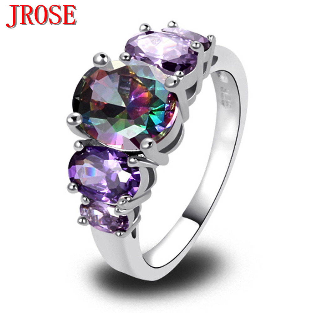 JROSE Women Fashion Mysterious Purple Rainbow CZ Silver Plated Ring Size 6789 10 11 12 13 Engagement Jewelry Wholesale