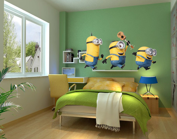 Cartoon Despicable Me Minions Wall Stickers For Kids Room Baby Wall
