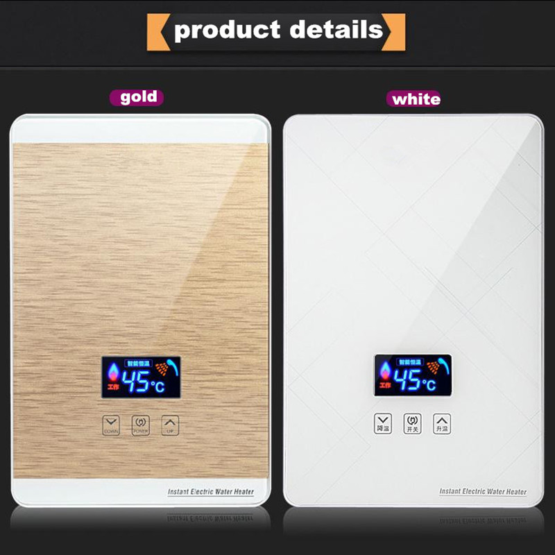 Continuous water heater Digital Display Iphone Style Bathroom Kitchen Sink faucet hot tap Electric Hot Shower Solarheater Backup