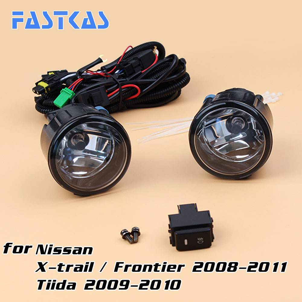 12v 55W Car Fog Light Assembly for X-trial 2008-2011 / Tiida 2009 2010 Front Fog Light Lamp with Harness Relay Fog Light car modification lamp fog lamps safety light h11 12v 55w suitable for mitsubishi triton l200 2009 2010 2011 2012 on