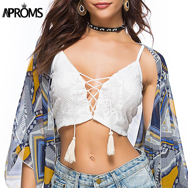 7c2a1e3ea1a Aproms White Crochet Floral Lace Up Camis Summer Casual Crop Top Tank Tops  Women Streetwear Fashion 2018 Basic Bra Black Tees