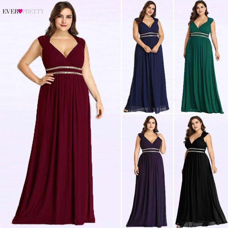 Ever Pretty Большие размеры Вечерние платья Длинные женские элегантные бордовые с v-образным вырезом шифон Империя Вечерние платья Robe De Soiree EP08697