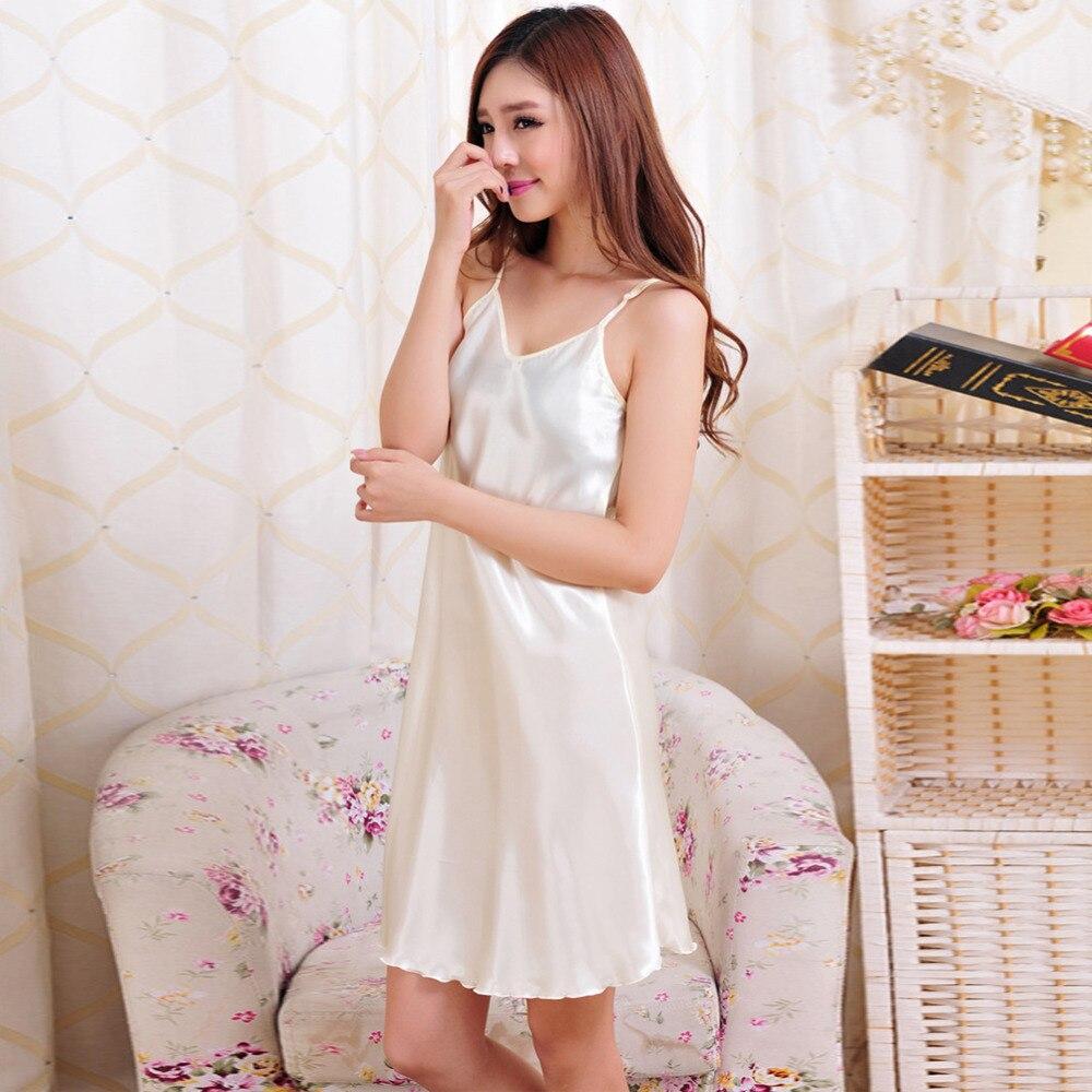 Summer Sexy women nightwear mini nightgowns tempatation deep V straps skirts Silk sleepwear Plus size Solid color night dress Y3