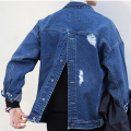 Ripped Denim Jacket Men Buttoned At Back Mens Oversized Jean Jacket 2017 New Fashion Harajuku Japanese Style Free Shipping