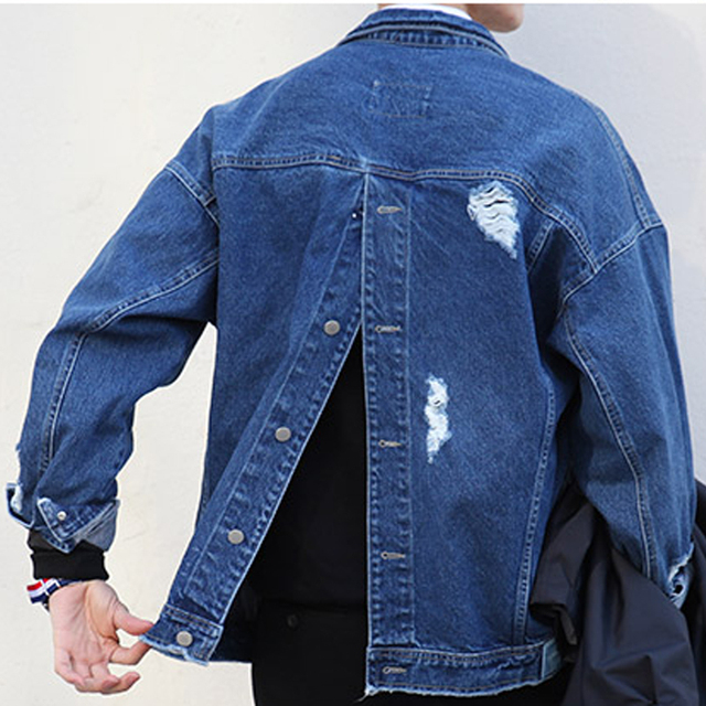 Ripped Denim Jacket Men Buttoned At Back Mens Oversized Jean ...