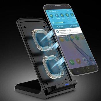 Qi 표준 스마트 휴대 전화 충전기에 대 한 led 표시기 빠른 충전기와 10 w 휴대용 수직 더블 코일 무선 충전기