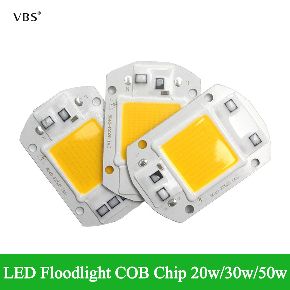 4pcs LED COB Lamp Chip 20W 30W 50W AC 110V 220V 230V Smart IC DIY LED Floodlight Spotlight Day White Cold White Warm White