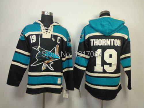 Mens Hockey Hoodies San Jose Sharks 19 Joe Thornton Old Time Hockey Jersey  ... 05bcaae8b