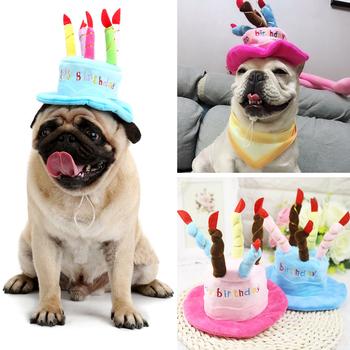Pet Dog urodzinowe kapelusze czapki śmieszne Puppy Cat nakrycia głowy śliczne zwierzęta akcesoria do kapeluszy dla małe pieski chihuahua mops buldog zaopatrzenie dla zwierząt domowych tanie i dobre opinie List Holapet Velvet Blue Pink