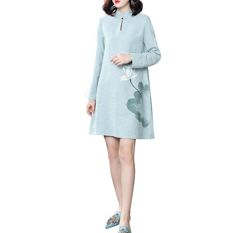 Original nouveau Style rétro chinois Boutique de femmes peint à la main Magnolia Vintage vent disque boucle Zen robe