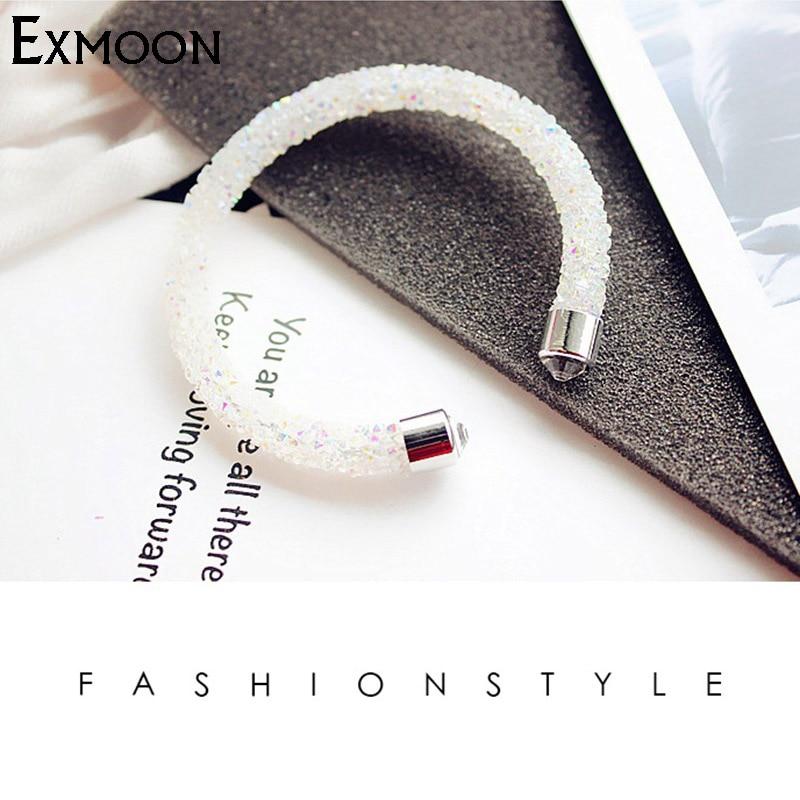 EX MOON Women Crystal Bracelets Bangles with Swarovski Element Full Crystal Bracelets For Women Party Jewelry