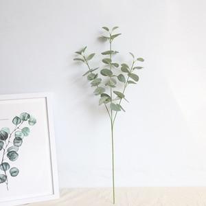 Image 3 - Feuilles artificielles branche rétro vert soie Eucalyptus feuille pour décor à la maison plantes de mariage Faux tissu feuillage chambre décoration 68CM