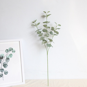 Image 3 - Rama de hojas artificiales Retro verde hojas de eucalipto de seda para decoración del hogar, plantas de boda, follaje de tela sintética, decoración de habitación de 68CM