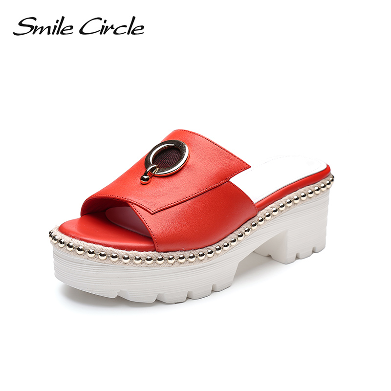Smile Circle 2018 Summer Style Leather Casual Slippers Women Fashion Thick bottom Shoes Women flip flop Casual Shoes women shoes 2018 summer breathable fashion lady s casual shoes lace up girls handmade women woven shoes flip flop footwear 599w
