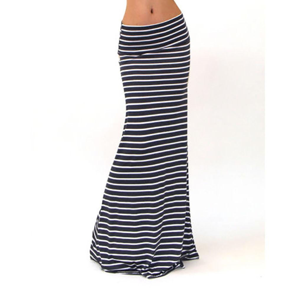 Multi colors 2019 new women skirt women asymmetric high waist striped fold over stretch long maxi skirt promotions 19#
