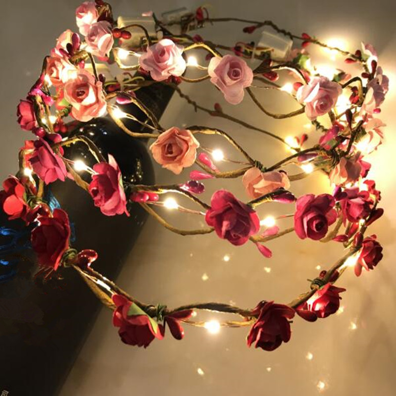 Festive & Party Supplies Event & Party 2018 New Colorful Flowers Leds Glowing Headband Garland Headdress Women Girl Flashing Hairband Halloween Glow Party Supplies