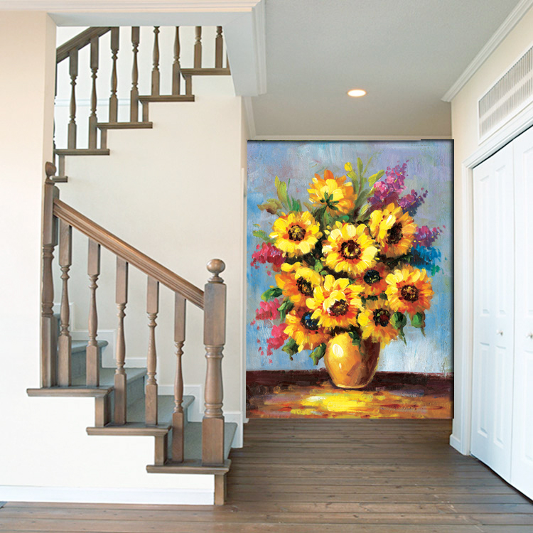 Sunflower 3D wallpapers 3d wall murals Non-woven fabric Eco-friendly Durable Entrance Hallway 3d stereoscopic wallpapers Decor home decor non woven fabric 3d wallpapers modern wallpaper good lightfastness durable bedroom decor white grey pink 53x1000cm