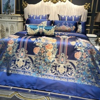 Синий Роскошный Королевский вышивка принт павлинье перо атласный шелк хлопок постельное белье набор пододеяльников для пуховых одеял прос