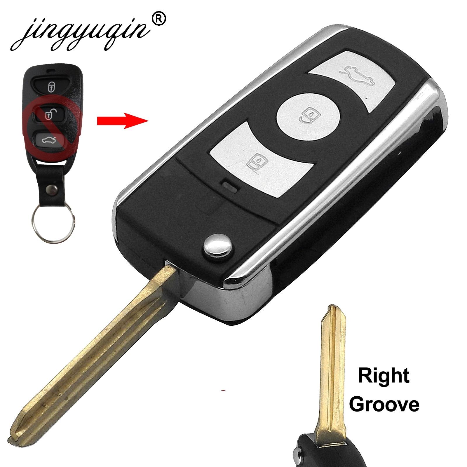 Jinyuqin sağ bıçak 3 düğmeler modifiye Flip anahtar kılıfı için HYUNDAI Coupe Tucson Elantra Accent Santa Fe i10 Kia fob vaka