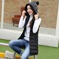 2016 Женщин Корея Хлопок Перо Жилет Новая Мода Осень-Зима большие дворы Тонкий Сплошной цвет С Капюшоном Средней Длины Жилет Куртка G0303