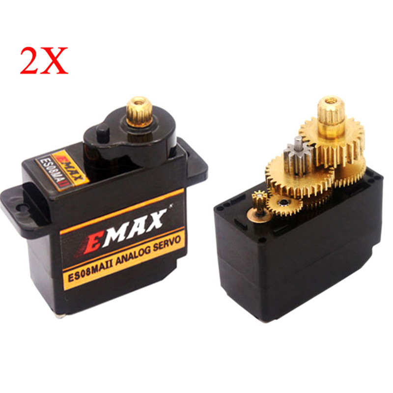 New Arrival 2X EMAX ES08MA II 12g Mini Metal Gear Analog Servo combo For RC Model Quadcopter Helicopter parts Accessories jx pdi 5521mg 20kg high torque metal gear digital servo for rc model