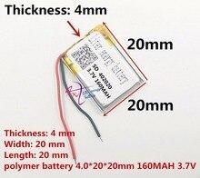 ลิตรพลังงานแบตเตอรี่แบตเตอรี่ลิเธียมโพลิเมอร์ 3.7 V 402020 042020 MP3 160 MAH ลำโพงขนาดเล็กบลูทูธขนาดเล็กของเล่น