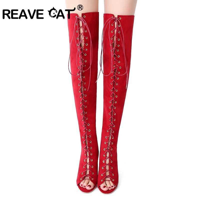 f511e3871 Reave Cat/Для женщин летние сапоги с открытым носком с поперечной шнуровкой  на молнии из