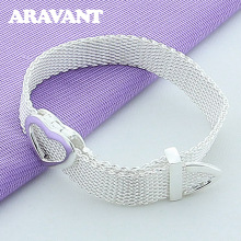New Design Silver Color Heart Wristband Bracelets For Women Wedding Plated 925 Jewelry Gifts