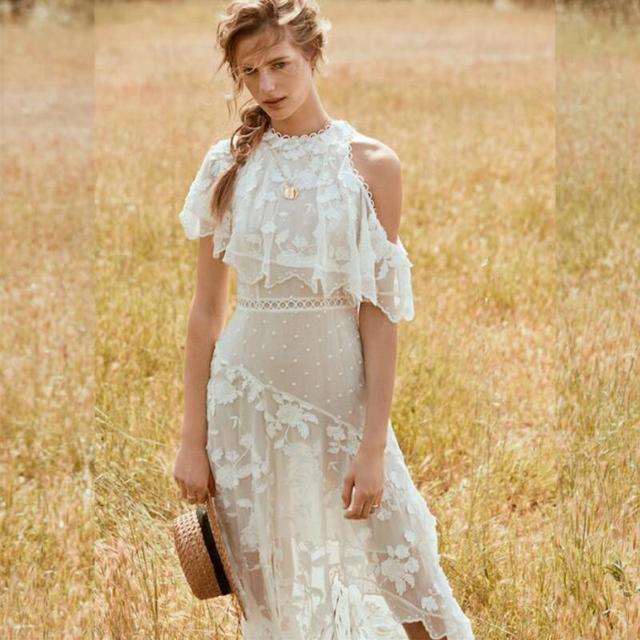 1df284a44e865 White Lace Embroidery Maxi Dresses Women Summer Silk Off Shoulder Irregular  Sexy Long Dress Short Sleeve Holiday