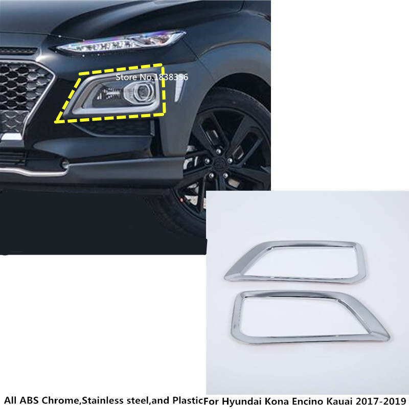Tomefon For Hyundai Kona Encino 2018 2019 Abs Chrome Front: Car Front Fog Light Lamp Frame Styling ABS Chrome Cover