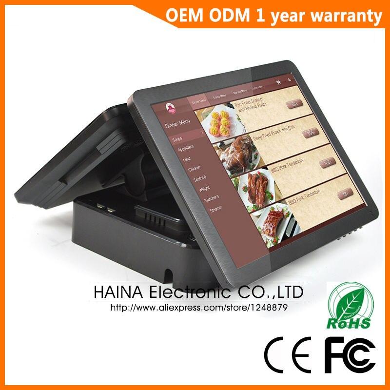 Image 2 - Haina Touch 15 дюймов сенсорный pos терминал, двойной экран POS машина для ресторана и розничного магазина-in Настольные ПК from Компьютер и офис