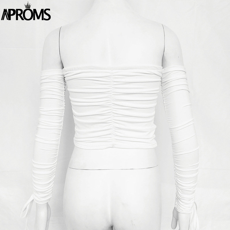 Aproms Coolest Off Shoulder Crop Tops Casual Ruched Pleated White T-shirt Women Short Sleeve Cropped Tshirt for Women Clothing 20