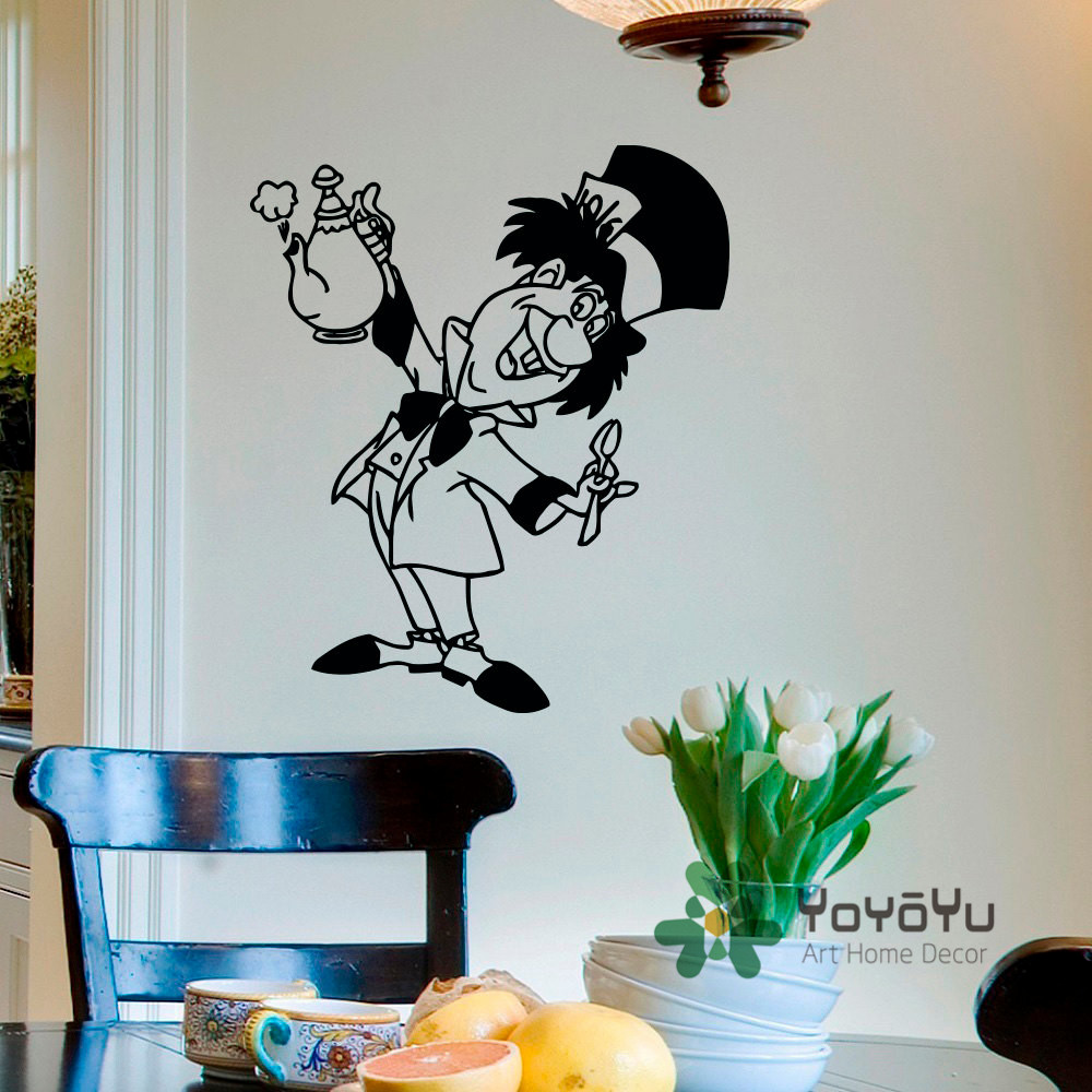 Mad Hatter Wall Decal Alice In Wonderland Decals Vinyl Stickers Tea Party Decor Dining Room Kitchen Art Poster Wa 21 From Home