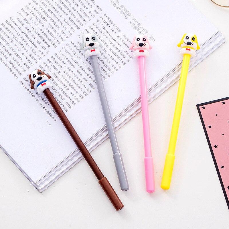 36 Pcs/lot Big Ear Dog Gel Pen Cartoon Animal Black Ink Neutral Pens Office School Writing Supplies Stationery Promotional Gift