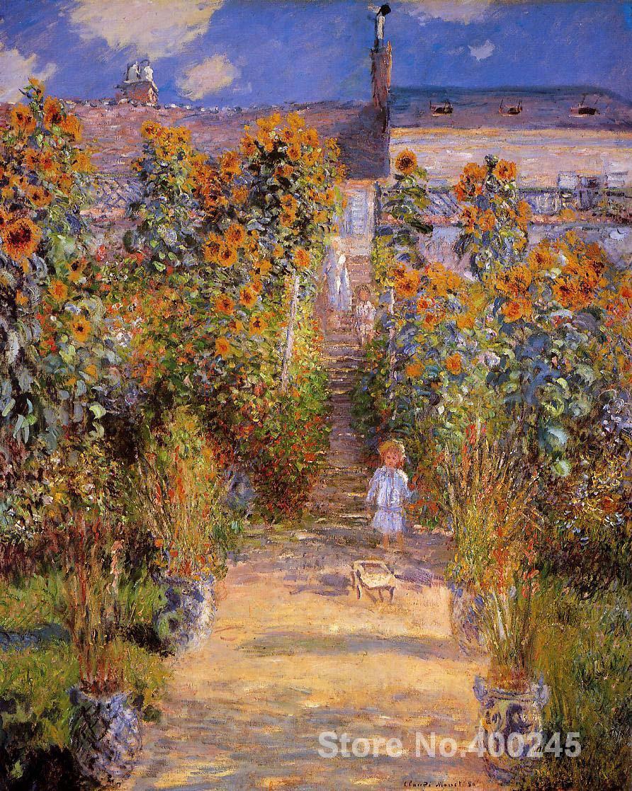Best Buy Art Gift Monets Garden at Vetheuil Claude Monet Painting on ...