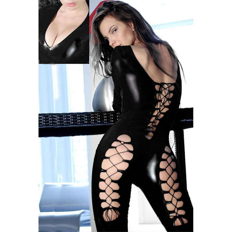 a740c062a6fb ... Women Sexy Catsuit Vinyl Leather Ladies Zipper Bodysuit Costume Erotic  Steampunk Lace-up Jumpsuit Pole ...