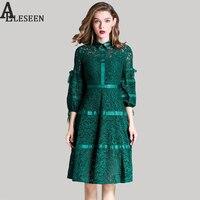 Vintage Red Lace Nữ Ăn Mặc 2017 Mùa Thu Thời Trang Hollow Out Patckwork Ve Áo Đèn Lồng Tay Áo Green & Văn Phòng Màu Đen A-Line Dress