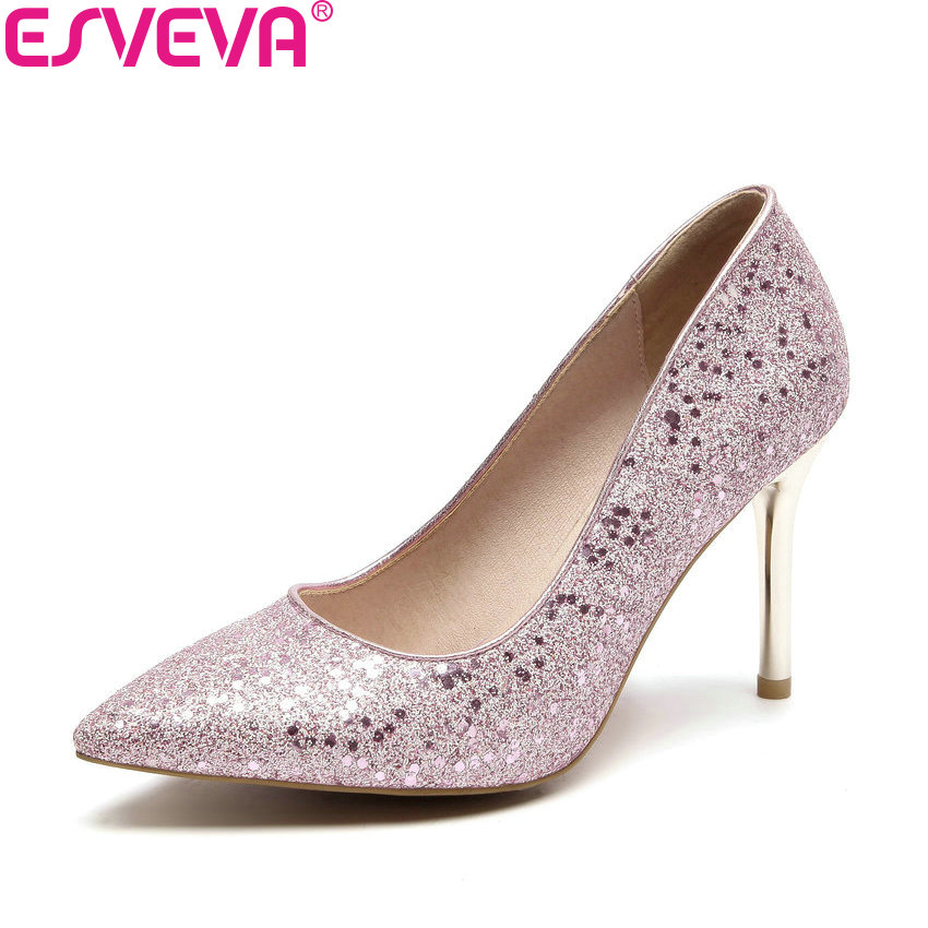 ESVEVA 2018 Women Pumps Sexy Sequins Bling Slip on Shoes Thin High Heels Pointed Toe Chunky Party Pumps Women Shoes Size 34-43 size 32 43 women s high heel shoes women slip on pointed toe pumps elegant thin heels ladies sexy party weddding soft shoes
