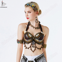 New Tribal Gypsy Bra Belly Dance ATS Bra Adjustable Women Hand Beading Bellydance Clothes Top Costumes Style Gypsy