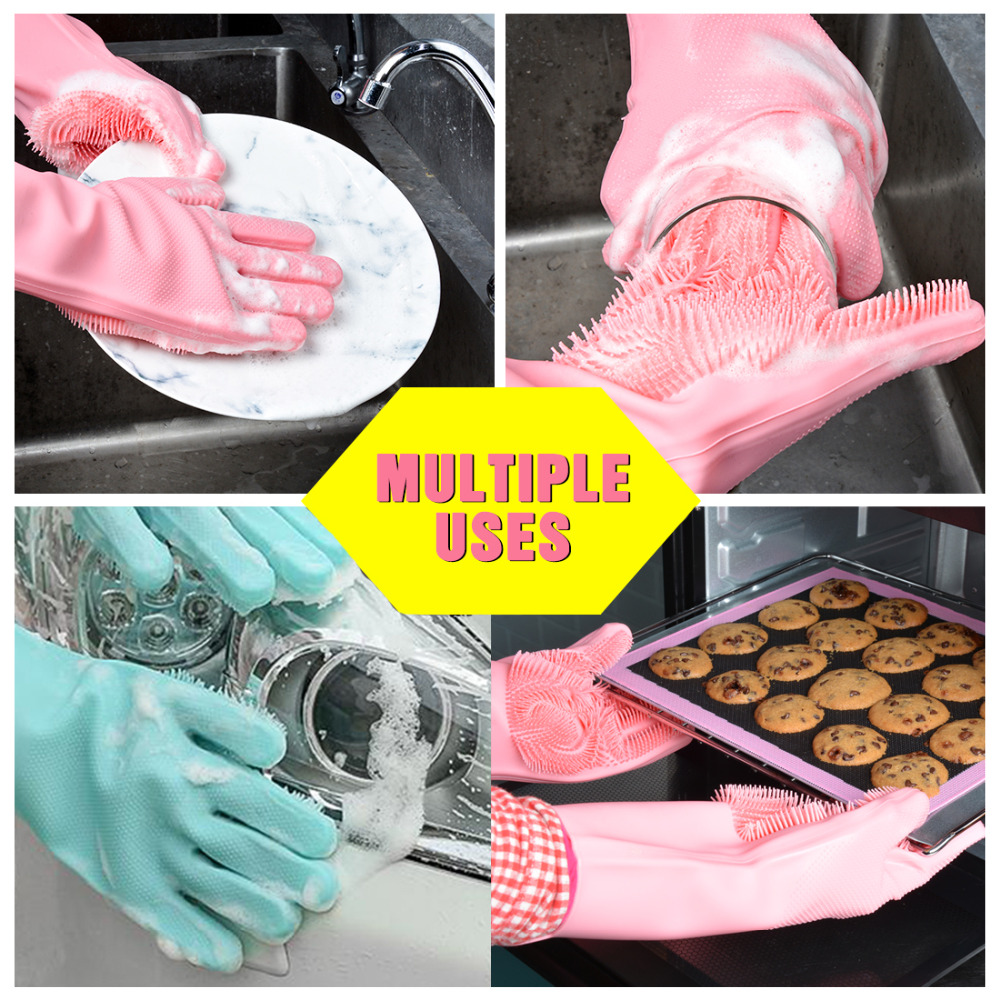 Image 4 - 1PCS Magic Dishwashing Gloves for Washing Dishes Silicone Cleaning Gloves With Brushes Kitchen Household Rubber Sponge Gloves-in Household Gloves from Home & Garden
