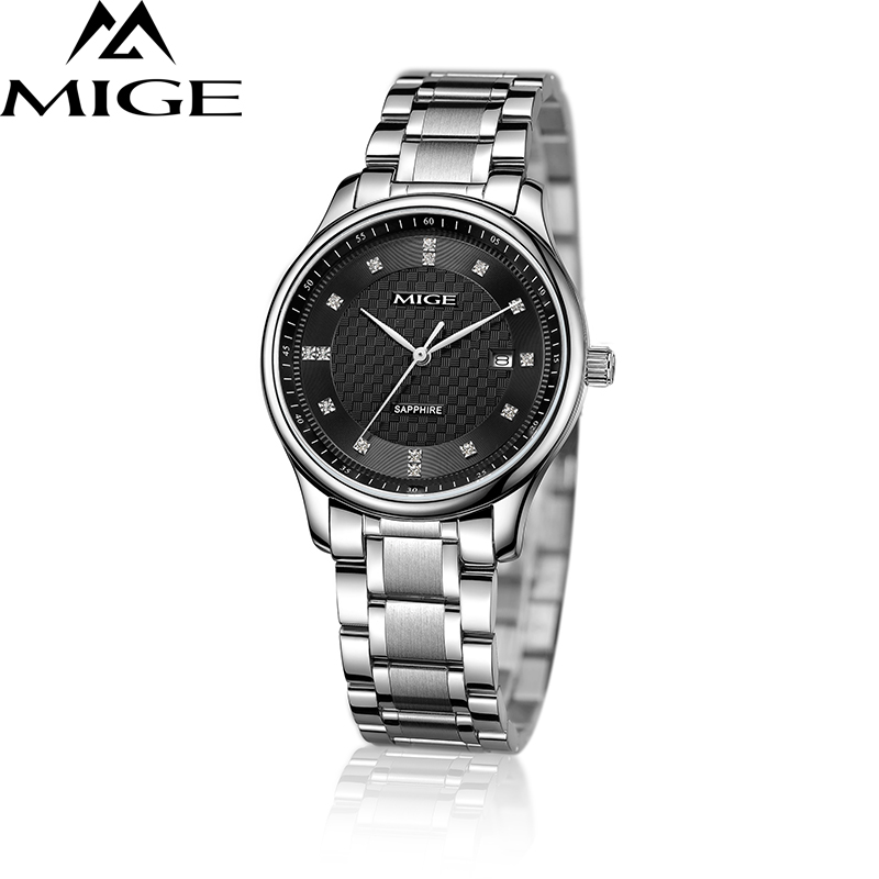 Mige 2017 Real Time-limited Rushed Sale Man Watch Black White Steel Watchband Business Waterproof Quartz Movement Mans Watches mige 20017 new hot sale top brand lover watch simple white dial gold case man watches waterproof quartz mans wristwatches