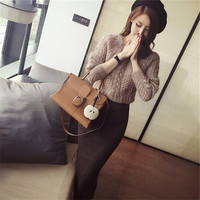 2016 Autumn Women S 2 Two Piece Set Casual Light Tan Hand Crocheted Knit Sweater Tight