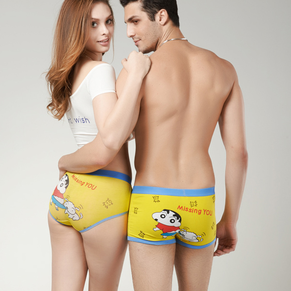 75c2a0fbbc (1 set   2pcs) Free shipping cartoon underwear lovers panties couple  underpants superman stitch spongebob sexy high quality sale