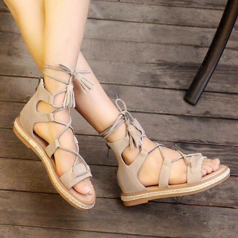 Playa Femenina Planas Negro Verano Encaje Zapatos Black De Sandalias Tassel Peep Mujer brown Para Cross Sandalia gray Casuales Tied Gladiador Toe BTqC1nw46