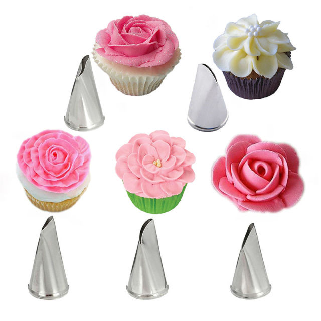 Decorating Tool aliexpress : buy 5 pcs/set rose petal metal cream tips cake